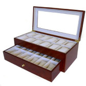 24 Watch Box XL Wide Compartments Clearance Cherry Tech Swiss