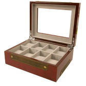 8 Watch Box XL Compartments Clearance Burl Wood Leather