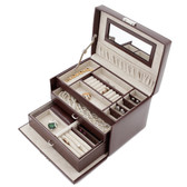 Brown Leather Jewelry Chest with Travel Case by Tech Swiss | TS382BRN | Open
