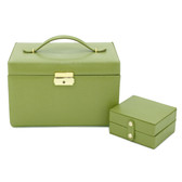 Lime Green Leather Jewelry Chest with Travel Case | Tech Swiss TS382LME | Closed