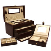Jewelry Box Leather Brown Extra Large With Travel Case