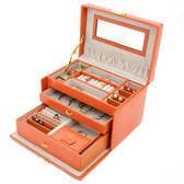 Orange Lizard Grain Leather Jewelry Box from Tech Swiss | TS382OGE | Main