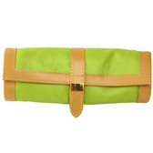Travel Jewelry Roll Up Leather Compact Lime