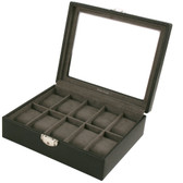 Watch Box Storage Case Leather for 10 Watches With Lucite Window