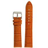 Orange Leather Watch Band with Alligator Grain by Tech Swiss - Top View