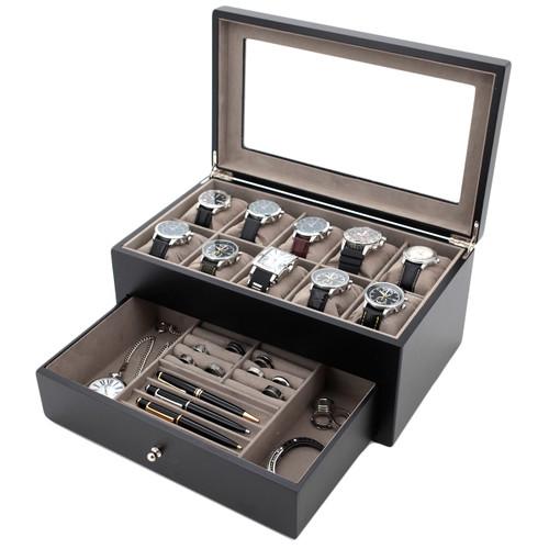 Wood Watch & Jewelry Case for Men | Clear Display Window | Tech Swiss | TSVL200BK | Open