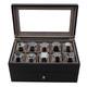 Wood Watch & Jewelry Case for Men | Clear Display Window | Tech Swiss | TSVL200BK | Front