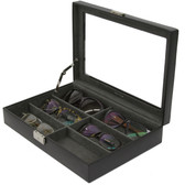 Leather Eyeglass & Sunglass Case in Black