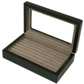 Ring Box Storage Display Case 7 Rows Black Matte Finish Window