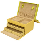 Leather Jewelry Case With Yellow Lime Trim FLower Buckle