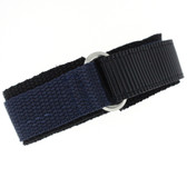 16mm Navy Velcro Watch Band | 16mm Black Navy Watch Strap | 16mm Sport Navy Watch Band | Watch Material VEL100N-16mm | Buckle