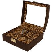 Watch Box Storage Case Brown Leather 10 Watches Window Animal Print