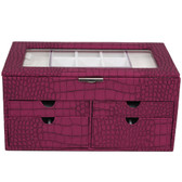 Large Jewelry Box Chest Organizer Animal Print in Magenta
