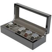 5 Watch Box Grey Carbon Fiber Finish Display Window silver tone Hardware