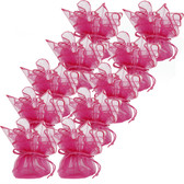 Neon Hot Pink Organza Bags - Set of 10