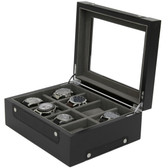 8 Watch Box Sporty Design Black Carbon Fiber Accents