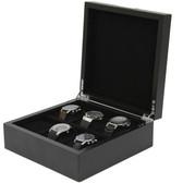 6 Watch Box Engravable Plate Wood Black Finish