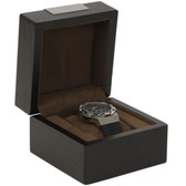 Single Watch Box 1 Extra Large Watch Wood Brown Finish Engravable Plate