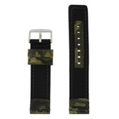 Camouflage Nylon and Leather Watch Band - Top View