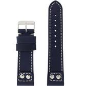 Watch Band Navy Blue Pilot Style White Stitching