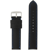 Long Black Leather Watch band with Blue Topstitching - Top View