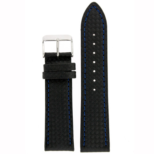 Carbon Fiber Print Leather Watch Band in Black - Top View