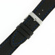 Carbon Fiber Print Leather Watch Band in Black - Buckle View - Main