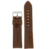 Brown Leather Watch Band with Crocodile Grain by Tech Swiss - Top View