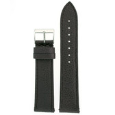Watch Band Metallic Black Leather Padded Built-In Spring Bars