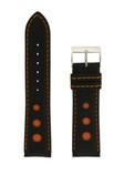 Leather Sport Style Watch Band Black Orange Stitching