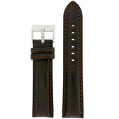 Leather Watch Band in black with red Topstitching - Top view
