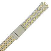 Metal Watch Band in 2-Tone Stainless Steel w. Curved End (TSMET350)