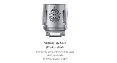 smok tfv8 baby V8-q2 core 0.4ohm dual coils 40-80w authentic
