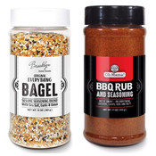 Everything Bagel Seasoning Blend (2-Pack) Bundle, Oh Mama! The BBQ Rub & Bagel Sesame Seasoning Blend in 10 oz Spice Shaker Bottles, Tasty Bagel Allspice & The BBQ Spices Seasoning Shakers for Cooking