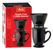 Melitta Coffee Maker Single Cup Pour-Over Brewer with Coffee Mug Black