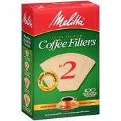 Melitta Super Premium Coffee Filters #2 Natural Brown - 100 CT