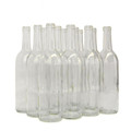 750 Ml Wine Bottles, Clear Bordeaux Cs/12