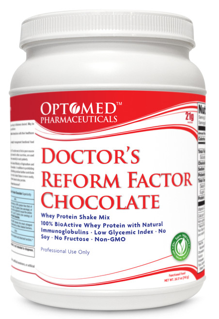 Doctor's Reform Factor Chocolate™~Whey Protein Shake Mix 100% BioActive Whey Protein with Natural Immunoglobulins  Low Glycemic Index  No Soy  No Fructose-Non-GMO  Serving size per container: 14  Net WT. 26.17 oz   Professional Use Only