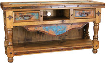 Blue Copper 2 Drawer TV Console