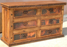 Six Drawer Copper Dresser