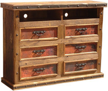 Six Drawer Copper Dresser w/ Shelves