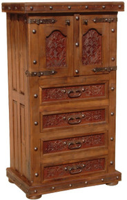 Tall Two Door Dresser w/ Tooled Leather & Legs
