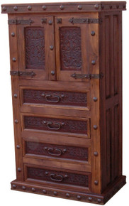 Tall Two Door Dresser w/ Tooled Leather