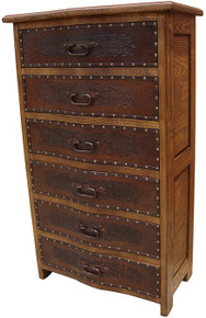 Curved Tooled Leather Tall Dresser