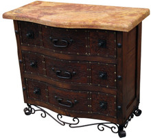 Marble Top Tooled Leather Dresser