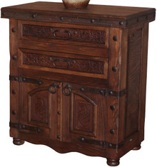 Mesquite 2 Drawer Tooled Leather Nightstand
