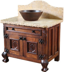 Leon Mesquite Sink Cabinet w/ Full Marble Top ** SALE $400 OFF