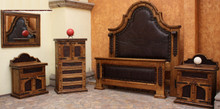 Colonial King w/ Tooled Leather 5pc Bedroom Set