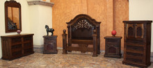 Emperador King w/ Tooled Leather 6pc Bedroom Set