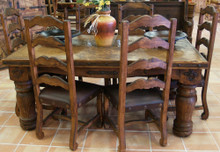 Hacienda 72'' Marble Top 7pc Dining Set